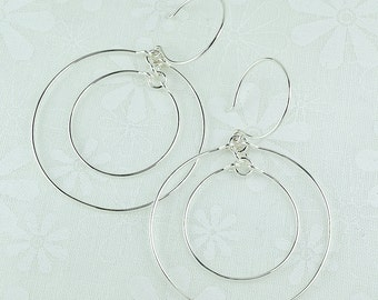 CONCENTRIC HOOP EARRINGS, sterling silver double circle earrings