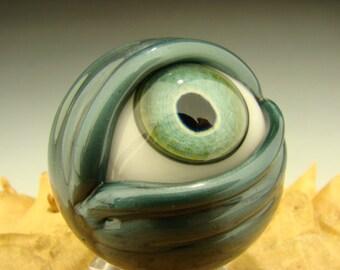 Glass Art Eyeball Marble Lampwork Alien Cyborg Eye Freaky Paperweight VGW KT (made to order)