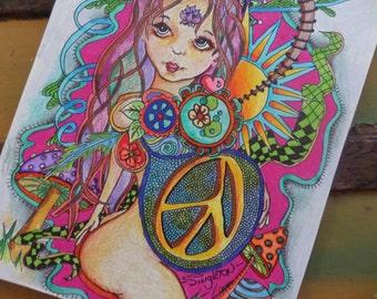 Goddess art, Mother Earth, Hippie art, peace art, mushrooms, psychedelic art, Singleton hippie art, original drawing, goddess drawing
