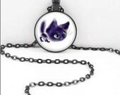 Anime Cat Necklace, Anime Kitty Pendant, Cute Anime Bohemian Gypsy Jewelry Anime Kawaii Manga  AC13