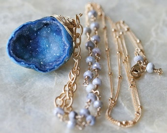 Druzy Necklace, Blue Druzy Necklace, Ready to Ship, Long Necklace, Raw Stone Necklace, Beaded Chain, Multi Chain Necklace, Geode Necklace