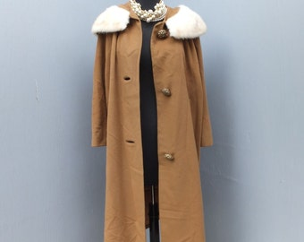 Vintage Ladies Cashmere Coat w/Dramatic Mink , Imported Cashmere Coat, Roos Atkins, Size Large