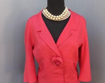 Vintage 60s Suit, GRIONI, Coral Suit, 2 Pc Silk Suit, Jackie Kennedy, Mad Men Suit, Classic 1960s Jacket and Skirt Set