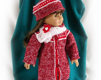 Doll Coat Hat and Scarf 18 inch Doll Knit Winter Coat American Girl Doll Knit Coat and Hat Red and White Tweed Doll Coat AG Doll Red Coat