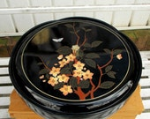 Vintage 6 Compartment Black Lacquer Lazy Susan with Cover Made in JAPAN