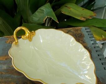 Lenox Leaf Candy Dish 24K Gold Trim Cream Porcelain Made In The USA / Vintage Lenox Leaf Dish / Gold And White Leaf Dish