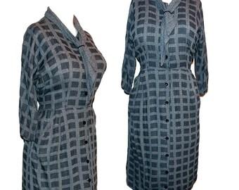 Vintage 40s 50s two tone gray gab day dress M L