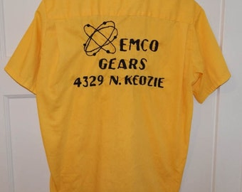 Vintage 50s 60s Emco Gears atomic novelty print loop collar mens bowling shirt M