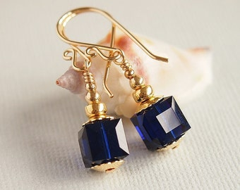 Indigo Blue Swarovski Crystal Earrings, 14kt Gold Filled, Minimalist, Everday, Night Blue Beaded Earrings - MIDNIGHT