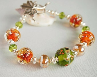 Orange Brown Green Lampwork Bracelet, Sterling Silver, Gold, Oak Leaf, Beaded Bracelet, Autumn, Fall - GOLDEN HARVEST