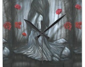 Square Clock Sad Woman Red Poppies  Made From A Print of My Artwork 10.75x10.75  If You Love Something