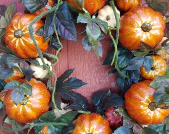 Pumpkin Wreath......Fall Door Wreath......Harvest Wreath