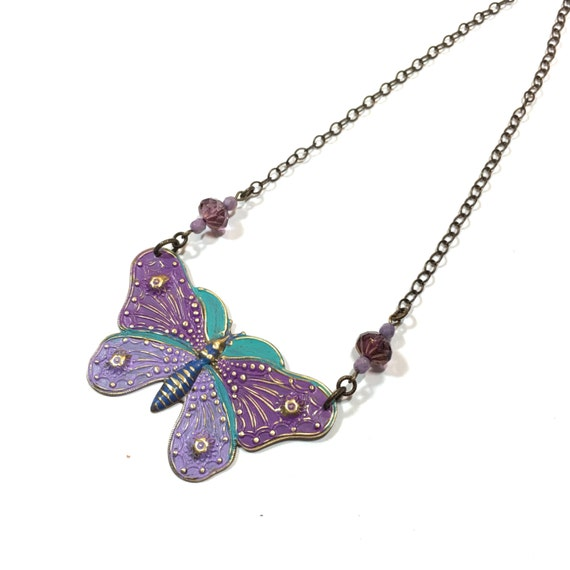 Bright Painted Butterfly necklace Purple Lavender and turquoise