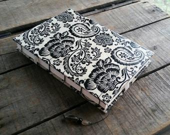 Large Black And Cream Paisley Lokta Journal, Coptic Stitch Art Journal, Large Hard Cover Sketchbook, Black Cream Paisley Wedding Guest Book