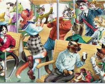 Mainzer cats, vintage postcard, Happy Travelers, Mainzer dressed cats Postcard no. 4755 anthropomorphic