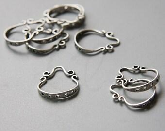 2pcs Oxidized Silver Plated Brass Base Earring Findings Components - 17x12mm (5480Z-U-374)