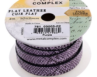 One Foot Faux Snake Leather Cord - Purple 10x2mm (302)