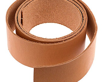 One Piece Flat Leather Cord - Natural 2 Inch x 44 Inch (3032)