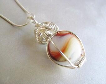 Rare White Sea Glass Marble Pendant - Red, Orange, Green Swirl Sea Glass Pendant - Beach Glass Jewelry