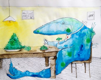 """WHALE Art, Aquatic Illustration Artwork,  Ocean Drawing, Funny Food Art Print - """"Dinner with a Whale"""" by Far Out Arts"""