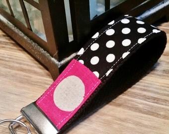 Wrist Key Chain - Key Fob Wristlet Keychain - Fabric Fob - Pretty Polka Dots
