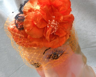 Pill Box HAT and Matching CLUTCH Purse Handmade Fall Halloween - Hat and Purse - Orange and Black