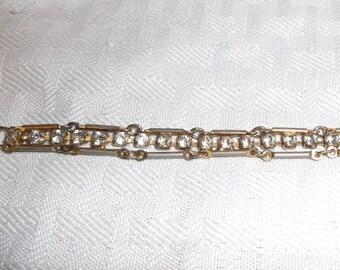 1950s Vintage Link and Rhinestone Bracelet