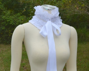 Victorian Inspired White Lace And Ribbon Ruffle Collar Necklace Cowl Statement Neckpiece