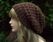 Chocolate Brown Slouchy Crochet Hat, Womens Slouch Beanie, Oversized Slouchy Beanie, Chunky Hat, Slouchy Hat, Winter Hat, Slouch Hat
