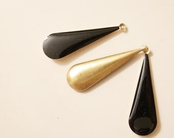 12 solid black epoxy poly resin drop bead on brass color base long drop 40x12mm large