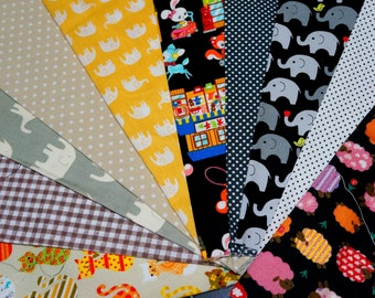 Value set fabric scrap  total of 10 pieces animal print dots and gingham