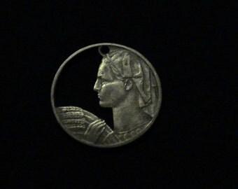 YUGOSLAVIA - cut coin jewelry - 1955 - w/ Farmer Woman