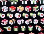 Two (2) Yards -Please Enjoy Sushi Fabric on Black by Alexander Henry Fabrics 8411B Black