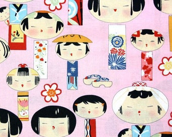 Two (2) Yards - Yui Kokeshi Pink Japanese Alexander Henry fabric 6757A