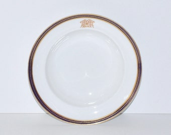 Antique French Monogrammed Porcelain Plate Bowl with Cobalt Blue and Gold Rim