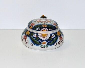 Vintage Dutch Royal Tichelaar Makkum Colored Ceramic Jar, circa 1950s