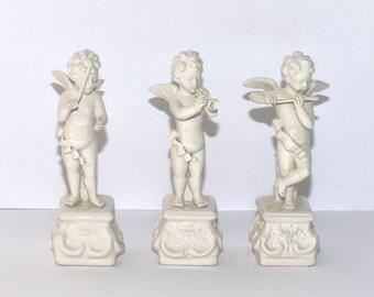 Vintage Bassano Italy White Ceramic Angel Orchestra Figurines, Set of 3