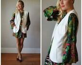 1970s Cream Textured Vest~Size Medium to Large
