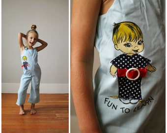 "1960s ""Fun to Learn"" Overalls~Size 3t"