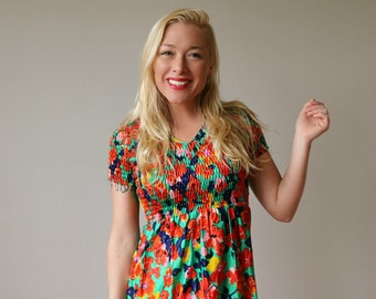 1970s Floral Babydoll Dress~Size Extra Small (00/0/2)