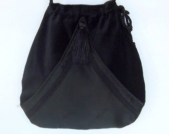 Black Velvet  Pocket Boho Bag  Black  Steampunk Drawstring Bag  Black Forest Mori Bag  Crossbody Purse