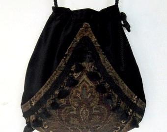 Boho Fringe Bag Black Pocket Boho Bag Tapestry Green and Burgundy Drawstring Bag   Bohemian Bag  Crossbody Purse