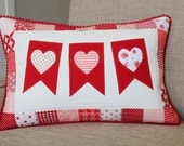 Valentine Pillow Vanlentine's Day Pillow Heart Pillow Heart Bunting Pillow - Red