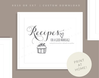 Recipe for a Good Marriage Sign | Printable Recipes Sign | Downloadable Wedding Sign | Bridal Shower Sign | Reception Sign |Allie Collection
