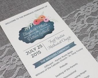 Floral Watercolor Chalkboard Wedding Program, Chalkboard Wedding Program, Wildflower Wedding, Orange Wedding - Elizabeth and Dillon