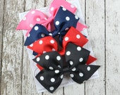 Set of 4 Polka Dot Pinwheel Style Large Bow Hair Clips - Hot Pink, Navy Blue, Red, Black - French Barrette Available - every day hair clips