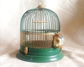 Vintage Green Birdcage with Original Owl Ornamentation
