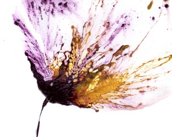 Art Flower Painting, Purple Wall Art, Abstract Floral Art