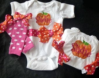 Fall Pumpkin Applique Set - Bodysuit, leg warmers and bloomers with bows