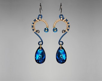 Bermuda Blue Swarovski Crystal Industrial Earrings, Statement Earrings, Bridal Jewelry, Wire Wrapped, Youniquely Chic, Arcturus II v6